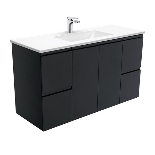 Vanessa 1200 Poly-Marble Moulded Basin-Top + Fingerpull Satin Black Cabinet Wall-Hung 3 Tap Hole [197813]