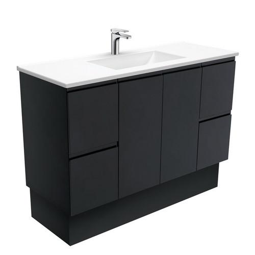 Vanessa 1200 Poly-Marble Moulded Basin-Top + Fingerpull Satin Black Cabinet on Kick Board 3 Tap Hole [197815]
