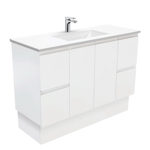 Vanessa 1200 Poly-Marble Moulded Basin-Top + Fingerpull Satin White Cabinet on Kick Board 1 Tap Hole [197816]