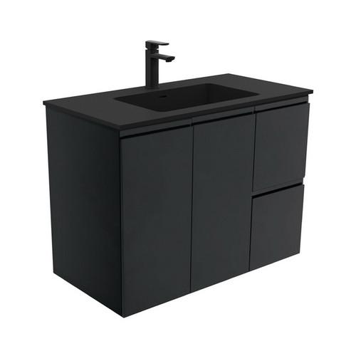Montana 900 Solid Surface Moulded Basin-Top + Fingerpull Satin Black Cabinet Wall-Hung 2 Door 2 Left Drawer 1 Tap Hole [196518]