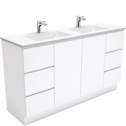 Vanessa 1500 Poly-Marble Moulded Basin-Top, Double Bowl + Fingerpull Gloss White Cabinet Wall-Hung 3 Tap Hole [197823]
