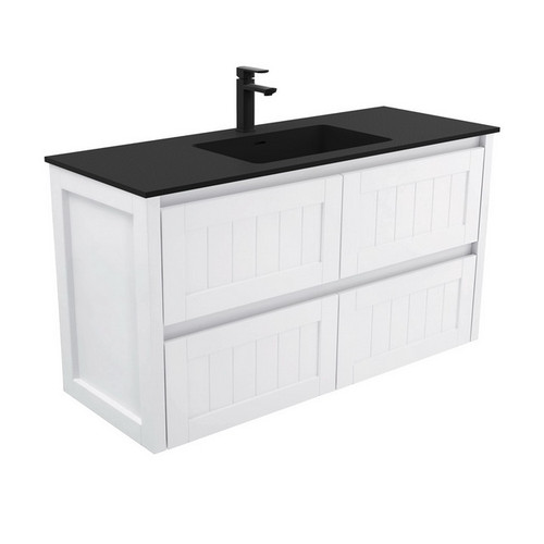 Montana 1200 Solid Surface Moulded Basin-Top + Hampton Satin White Cabinet Wall-Hung 4 Drawer 1 Tap Hole [196388]