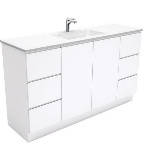 Vanessa 1500 Poly-Marble Moulded Basin-Top, Single Bowl + Fingerpull Gloss White Cabinet Wall-Hung 3 Tap Hole [197825]