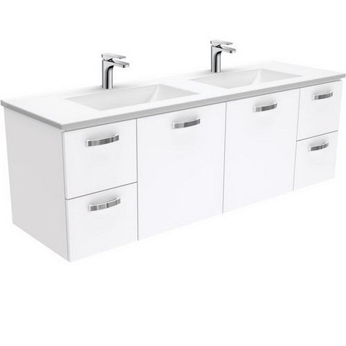 Vanessa 1500 Poly-Marble Moulded Basin-Top, Double Bowl + Unicab Gloss White Cabinet Wall-Hung 3 Tap Hole [197826]