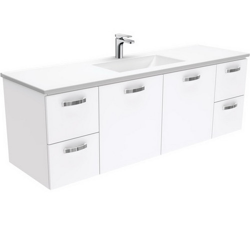Vanessa 1500 Poly-Marble Moulded Basin-Top, Single Bowl + Unicab Gloss White Cabinet Wall-Hung 3 Tap Hole [197827]
