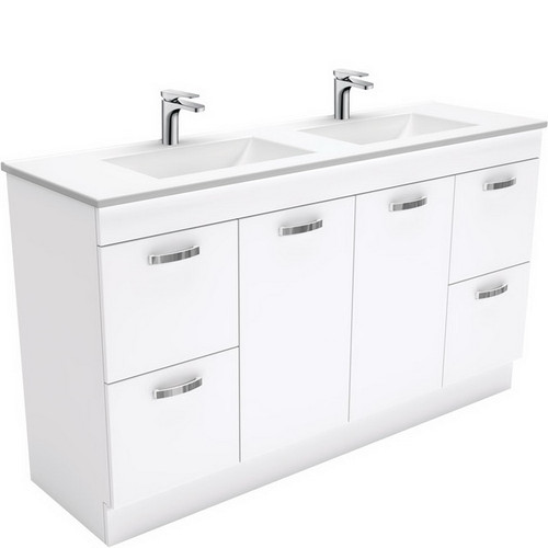Vanessa 1500 Poly-Marble Moulded Basin-Top, Double Bowl + Unicab Gloss White Cabinet on Kick Board 3 Tap Hole [197828]