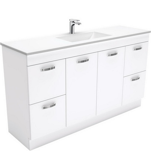 Vanessa 1500 Poly-Marble Moulded Basin-Top, Single Bowl + Unicab Gloss White Cabinet on Kick Board 3 Tap Hole [197829]