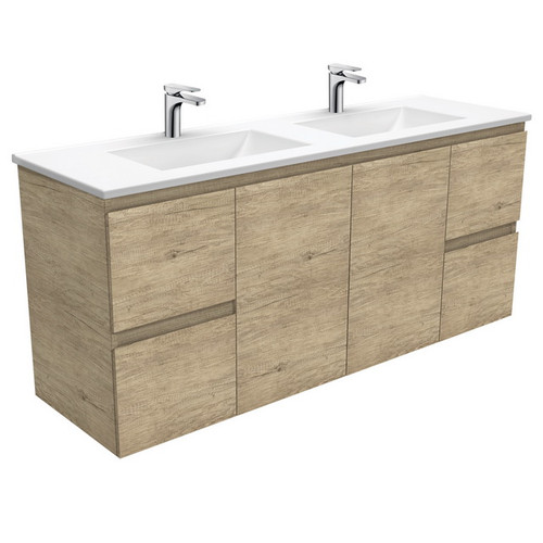 Vanessa 1500 Poly-Marble Moulded Basin-Top, Double Bowl + Edge Scandi Oak Cabinet Wall-Hung 1 Tap Hole [197830]
