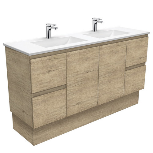 Vanessa 1500 Poly-Marble Moulded Basin-Top, Double Bowl + Edge Scandi Oak Cabinet on Kick Board 3 Tap Hole [197833]