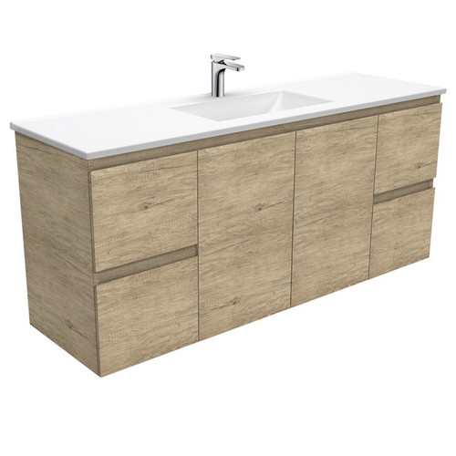 Vanessa 1500 Poly-Marble Moulded Basin-Top, Single Bowl + Edge Scandi Oak Cabinet Wall-Hung 3 Tap Hole [197837]