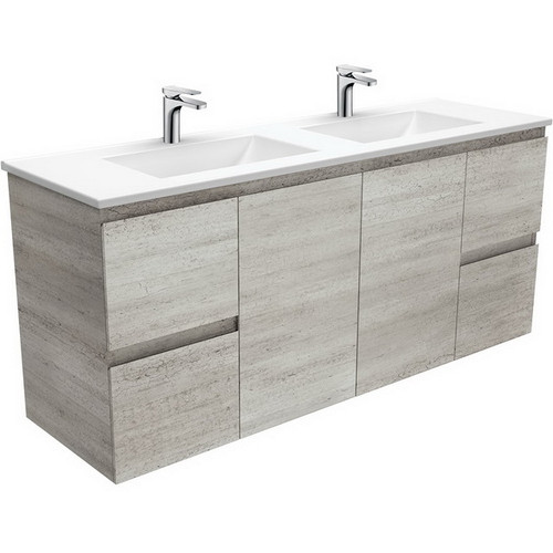 Vanessa 1500 Poly-Marble Moulded Basin-Top, Double Bowl + Edge Industrial Cabinet Wall-Hung 3 Tap Hole [197839]