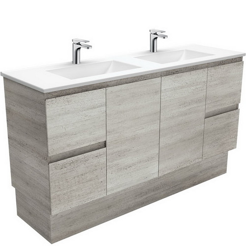 Vanessa 1500 Poly-Marble Moulded Basin-Top, Double Bowl + Edge Industrial Cabinet on Kick Board 3 Tap Hole [197841]