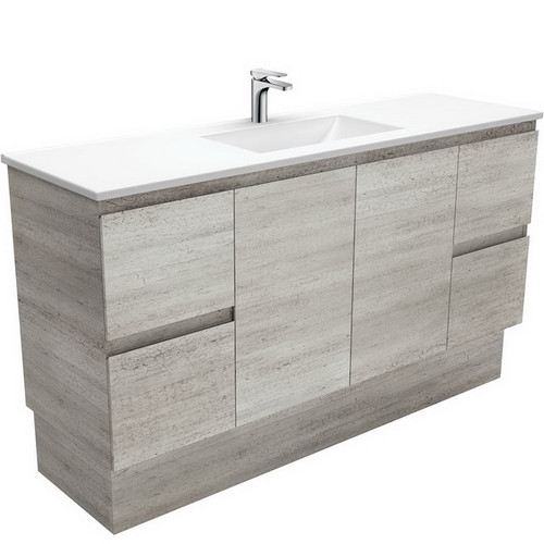 Vanessa 1500 Poly-Marble Moulded Basin-Top, Single Bowl + Edge Industrial Cabinet on Kick Board 3 Tap Hole [197843]