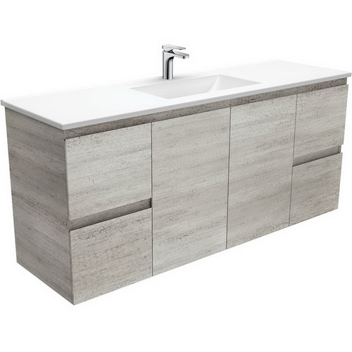 Vanessa 1500 Poly-Marble Moulded Basin-Top, Single Bowl + Edge Industrial Cabinet Wall-Hung 3 Tap Hole [197845]
