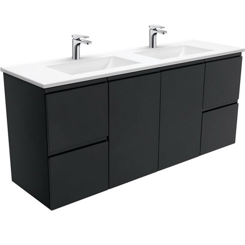 Vanessa 1500 Poly-Marble Moulded Basin-Top, Double Bowl + Fingerpull Satin Black Cabinet Wall-Hung 3 Tap Hole [197847]