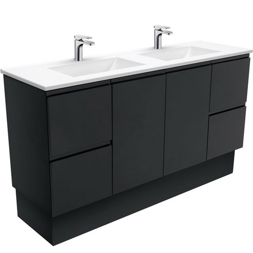 Vanessa 1500 Poly-Marble Moulded Basin-Top, Double Bowl + Fingerpull Satin Black Cabinet on Kick Board 1 Tap Hole [197848]