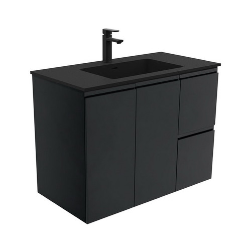 Montana 900 Solid Surface Moulded Basin-Top + Fingerpull Satin Black Cabinet Wall-Hung 2 Door 2 Right Drawer 3 Tap Hole [196521]