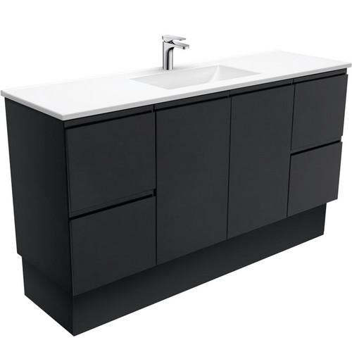 Vanessa 1500 Poly-Marble Moulded Basin-Top, Single Bowl + Fingerpull Satin Black Cabinet on Kick Board 3 Tap Hole [197851]