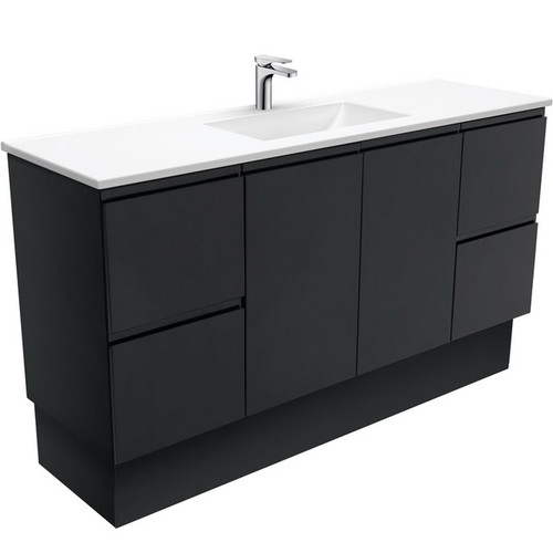 Vanessa 1500 Poly-Marble Moulded Basin-Top, Single Bowl + Fingerpull Satin Black Cabinet Wall-Hung 3 Tap Hole [197853]