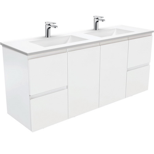 Vanessa 1500 Poly-Marble Moulded Basin-Top, Double Bowl + Fingerpull Satin White Cabinet Wall-Hung 3 Tap Hole [197855]