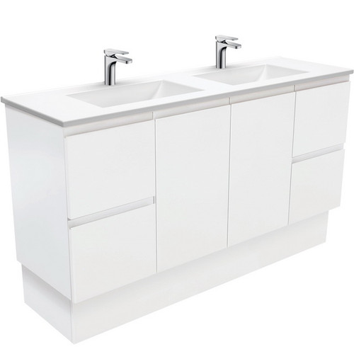 Vanessa 1500 Poly-Marble Moulded Basin-Top, Double Bowl + Fingerpull Satin White Cabinet on Kick Board 3 Tap Hole [197857]