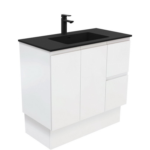 Montana 900 Solid Surface Moulded Basin-Top + Fingerpull Satin White Cabinet on Kick Board 2 Door 2 Left Drawer 1 Tap Hole [196522]