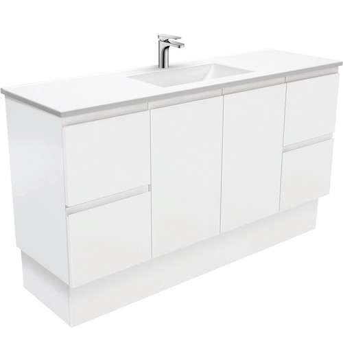 Vanessa 1500 Poly-Marble Moulded Basin-Top, Single Bowl + Fingerpull Satin White Cabinet on Kick Board 3 Tap Hole [197859]