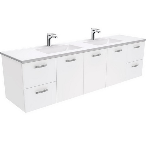 Vanessa 1800 Poly-Marble Moulded Basin-Top, Double Bowl + Unicab Gloss White Cabinet Wall-Hung 3 Tap Hole [197862]