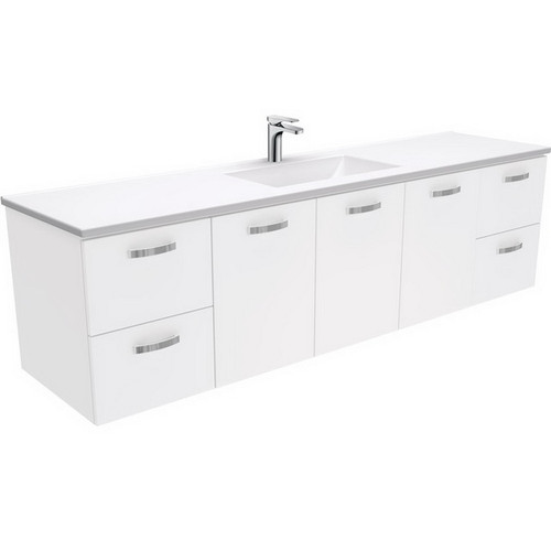 Vanessa 1800 Poly-Marble Moulded Basin-Top, Single Bowl + Unicab Gloss White Cabinet Wall-Hung 3 Tap Hole [197863]