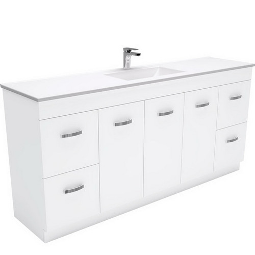 Vanessa 1800 Poly-Marble Moulded Basin-Top, Single Bowl + Unicab Gloss White Extra Wide Cabinet on Kick Board 3 Tap Hole [197865]
