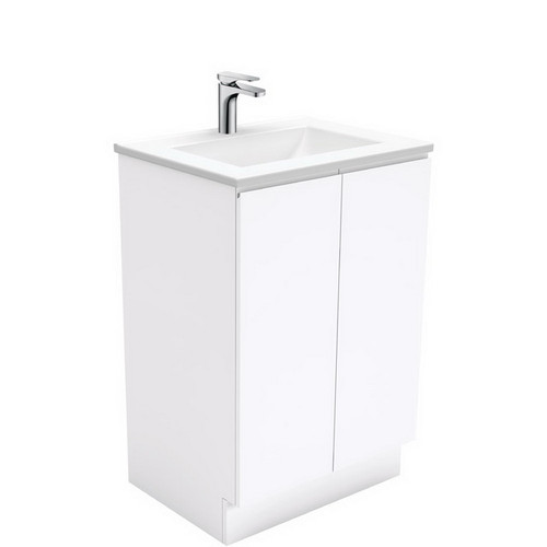 Vanessa 600 Poly-Marble Moulded Basin-Top + Fingerpull Gloss White Cabinet on Kick Board 3 Tap Hole [197867]
