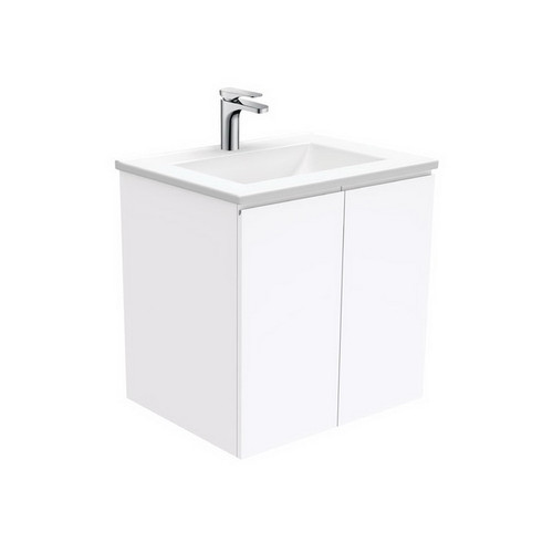 Vanessa 600 Poly-Marble Moulded Basin-Top + Fingerpull Gloss White Cabinet Wall-Hung 1 Tap Hole [197868]