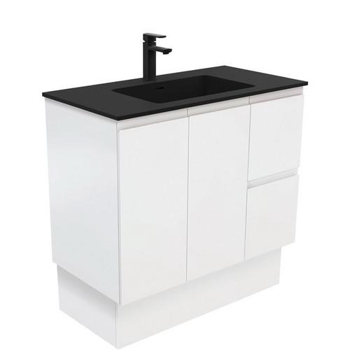 Montana 900 Solid Surface Moulded Basin-Top + Fingerpull Satin White Cabinet on Kick Board 2 Door 2 Left Drawer 3 Tap Hole [196523]
