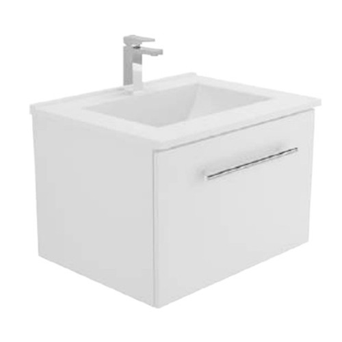 Vanessa 600 Poly-Marble Moulded Basin-Top + Manu Gloss White Cabinet Wall-Hung 2 Internal Drawer 3 Tap Hole [197871]
