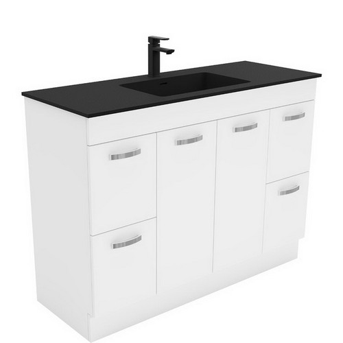 Montana 1200 Solid Surface Moulded Basin-Top + Unicab Gloss White Cabinet on Kick Board 2 Door 4 Drawer 3 Tap Hole [196375]