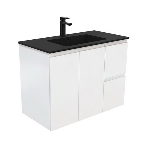 Montana 900 Solid Surface Moulded Basin-Top + Fingerpull Satin White Cabinet Wall-Hung 2 Door 2 Left Drawer 1 Tap Hole [196526]
