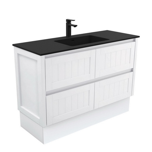 Montana 1200 Solid Surface Moulded Basin-Top + Hampton Satin White Cabinet on Kick Board 4 Drawer 3 Tap Hole [196391]