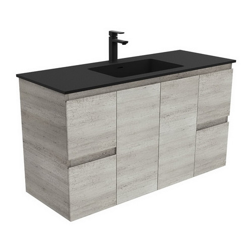 Montana 1200 Solid Surface Moulded Basin-Top + Edge Industrial Cabinet Wall-Hung 2 Door 4 Drawer 3 Tap Hole [196392]