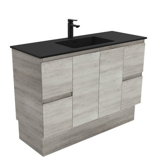 Montana 1200 Solid Surface Moulded Basin-Top + Edge Industrial Cabinet on Kick Board 2 Door 4 Drawer 3 Tap Hole [196393]