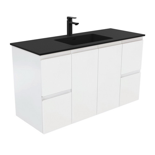 Montana 1200 Solid Surface Moulded Basin-Top + Fingerpull Satin White Cabinet Wall-Hung 2 Door 4 Drawer 1 Tap Hole [196394]