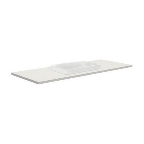 Sarah Roman Sand 1200 Semi-inset Basin-Top + Fingerpull Satin White Cabinet on Kick Board 3 Tap Hole [196589]