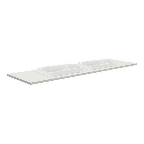 Sarah Roman Sand 1500 Semi-inset Basin-Top, Double Bowl + Fingerpull Gloss White Cabinet Wall-Hung 3 Tap Hole [196598]