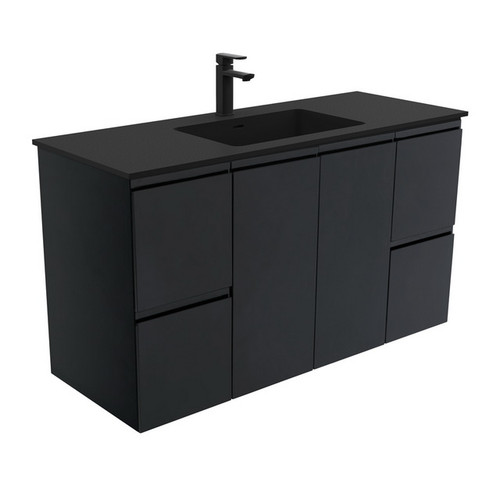 Montana 1200 Solid Surface Moulded Basin-Top + Fingerpull Satin Black Cabinet Wall-Hung 2 Door 4 Drawer 3 Tap Hole [196397]