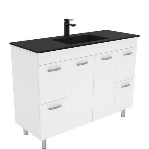 Montana 1200 Solid Surface Moulded Basin-Top + Unicab Gloss White Cabinet on Legs 2 Door 4 Drawer 1 Tap Hole [196376]