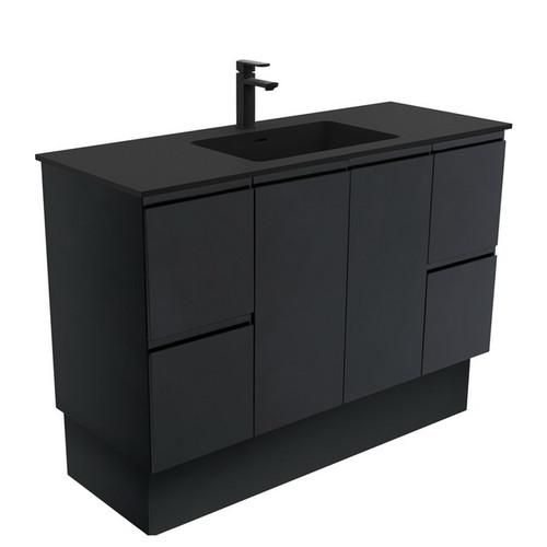 Montana 1200 Solid Surface Moulded Basin-Top + Fingerpull Satin Black Cabinet on Kick Board 2 Door 4 Drawer 3 Tap Hole [196399]