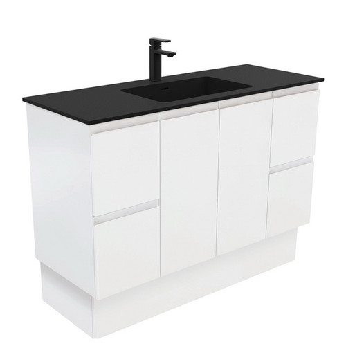 Montana 1200 Solid Surface Moulded Basin-Top + Fingerpull Satin White Cabinet on Kick Board 2 Door 4 Drawer 3 Tap Hole [196401]