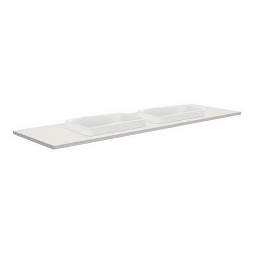 Sarah Roman Sand 1500 Semi-inset Basin-Top, Double Bowl + Fingerpull Satin White Cabinet Wall-Hung 3 Tap Hole [196652]