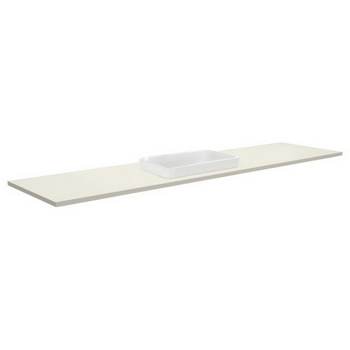Sarah Roman Sand 1800 Semi-inset Basin-Top, Single Bowl + Unicab Gloss White Extra Wide Cabinet on Kick Board No Tap Hole [196672]