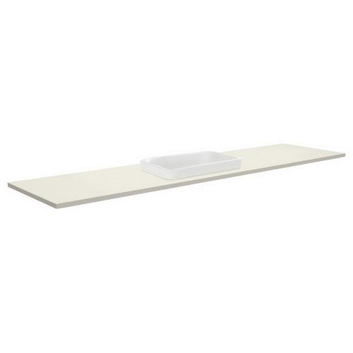 Sarah Roman Sand 1800 Semi-inset Basin-Top, Single Bowl + Unicab Gloss White Extra Wide Cabinet on Kick Board 3 Tap Hole [196673]