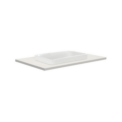 Sarah Roman Sand 750 Semi-inset Basin-Top + Manu Gloss White Cabinet Wall-Hung 2 Internal Drawer 3 Tap Hole [196694]